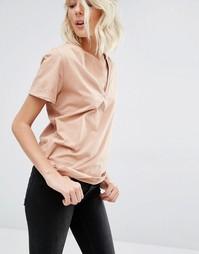 Розовая футболка с короткими рукавами и V-образным вырезом Gat Rimon T