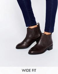 Кожаные ботинки челси для широкой стопы ASOS ABOUT TIME