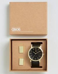 Золотистые часы и запонки ASOS - Черный