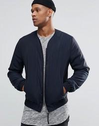 Темно-синяя куртка-пилот без воротника ASOS - Темно-синий