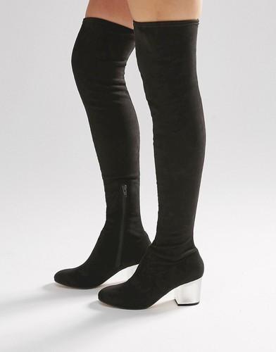Сапоги-ботфорты на прозрачном каблуке ASOS KENTUCKY - Черный