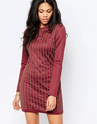 Расшитое бисером платье мини Glamorous - Burgundy