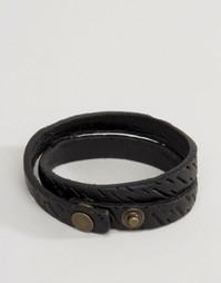 Черный кожаный браслет в несколько оборотов Diesel A-Trace - Черный