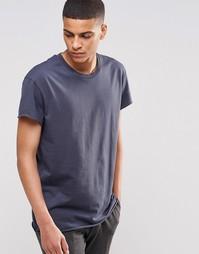 Oversize-футболка с необработанным краем Selected Homme - Темно-синий