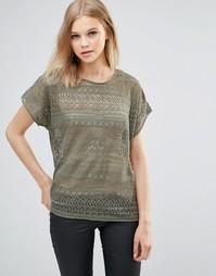 Кружевная блузка b.Young - Пыльный оливковый