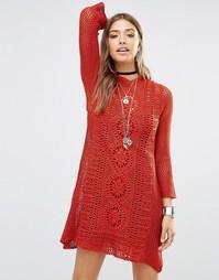 Ажурное платье Free People Rosalind Swit - Выгоревший оранжевый