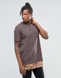 Супердлинная футболка с потертостями и камуфляжной вставкой по низу AS Asos