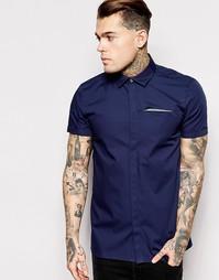 Рубашка с короткими рукавами и скрытой контрастной планкой ASOS