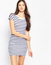 Платье с драпировкой и вырезом лодочкой Sundry - Белый