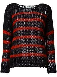полосатый свитер ажурной вязки Saint Laurent