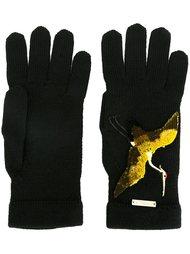 перчатки с вышитой птицей Dsquared2