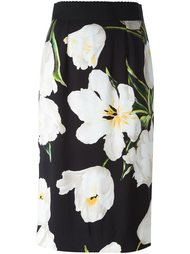 юбка-карандаш с узором в виде тюльпанов Dolce & Gabbana