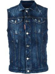 джинсовая куртка без рукавов с рваными деталями Dsquared2