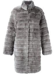 меховое пальто с панельным дизайном  Meteo By Yves Salomon