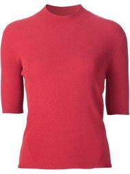 mock neck shortsleeved knit top Victor Alfaro