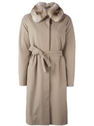 пальто с воротником из соболиного меха Liska