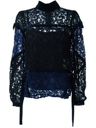 блузка с кружевными вставками Sacai
