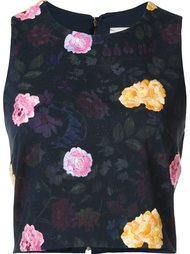 floral embroidered cropped top Nicole Miller
