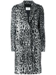 меховое пальто с леопардовым узором Yves Salomon