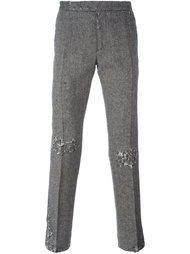 брюки в елочку с рваными деталями Palm Angels