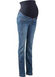 Классические джинсы для будущих мам с эластичным поясом и отворотами по нижним краям, cредний рост (N) (синий «потертый») Bonprix