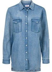 Джинсовая рубашка длинного покроя (синий) Bonprix