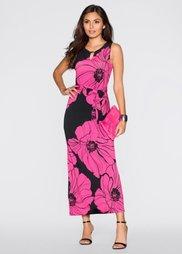 Макси-платье (черный/ярко-розовый в цветочек) Bonprix
