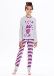 Пижама (2 изд.) (светло-серый меланж/ягодный) Bonprix