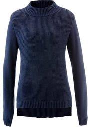 Пуловер с воротником-стойкой и структурным узором (зеленый кактус) Bonprix