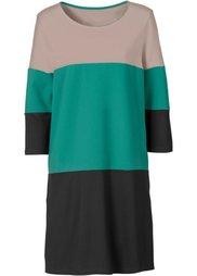 Платье с карманами (черный/светло-коричневый/белый) Bonprix