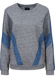 Свитшот с джинсовыми вставками (меланжевый индиго) Bonprix