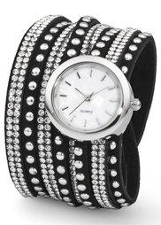 Часы с длинным ремешком и сверкающими стразами (серо-коричневый/золотистый) Bonprix