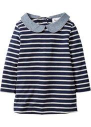 Для малышей: платье из биохлопка с длинным рукавом (темно-синий/натуральный в поло) Bonprix
