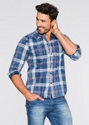 Рубашка Regular Fit с длинным рукавом (белый/синий джинсовый в клетку) Bonprix