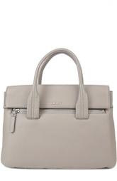 Кожаная сумка-тоут с карманом на молнии DKNY