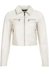 Кожаная укороченная куртка и декоративными молниями Dolce & Gabbana