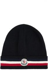 Шерстяная шапка с котрастной отделкой Moncler