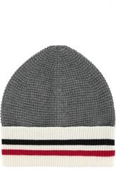 Шерстяная шапка с контрастным отворотом Moncler