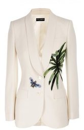 Приталенный жакет с шелковой аппликацией и декоративной отделкой Dolce & Gabbana