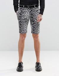Строгие шорты скинни с леопардовым принтом Religion - Черный