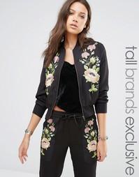 Куртка-пилот с цветочной вышивкой Glamorous Tall - Черный