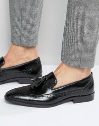 Черные кожаные лоферы‑броги с кисточками ASOS - Черный