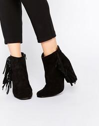 Замшевые ботинки на каблуке с бахромой Boohoo - Черный