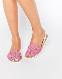 Плетеные кожаные сандалии с ремешком на пятке Park Lane - Розовый