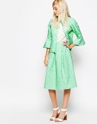 Пышная юбка из пестрого жаккарда Traffic People - Зеленый