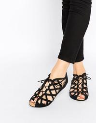 Кожаные сандалии-гладиаторы с вырезами Park Lane - Черный замшевый