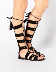 Высокие замшевые сандалии-гладиаторы Park Lane - Черный замшевый