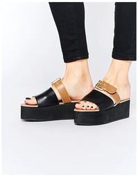 Кожаные сандалии-слайдеры на плоской платформе с пряжками Park Lane