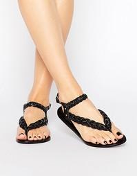 Плетеные кожаные сандалии Park Lane - Черный