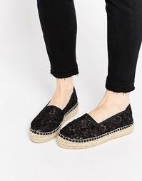 Эспадрильи на плоской подошве со шнуровкой - Black fabric Carvela